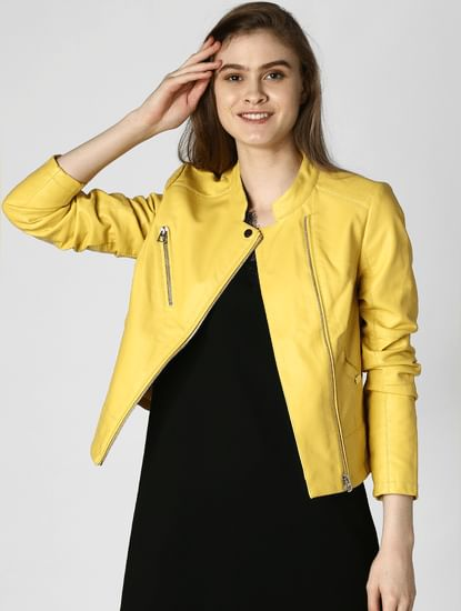 Yellow Pu Casual Jacket
