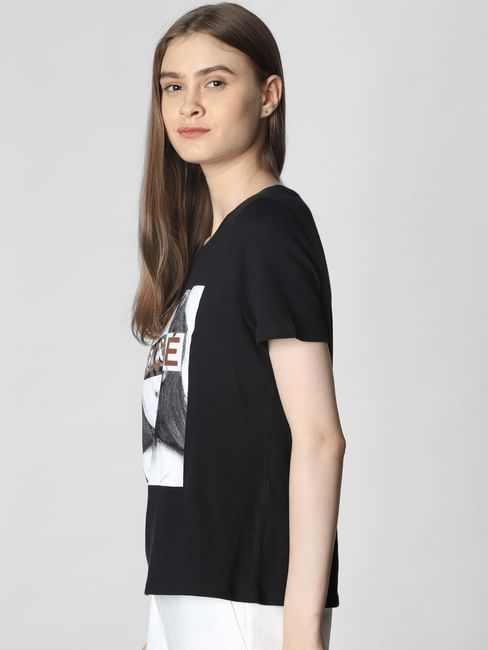 Black Text And Graphic Print Box Top