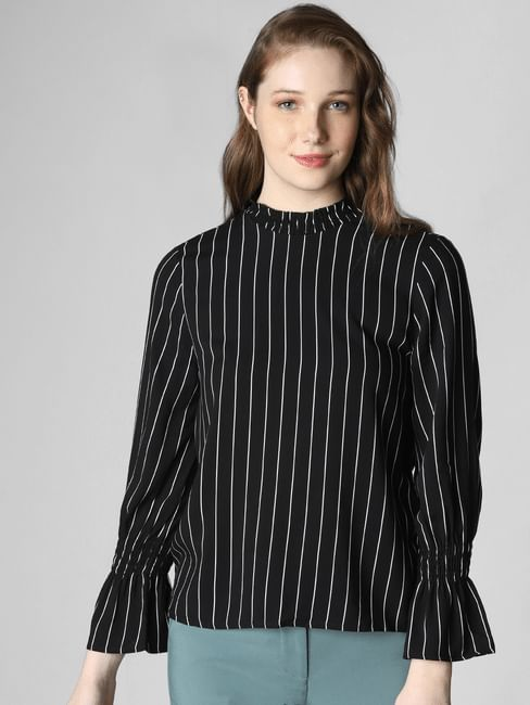 Black High Neck Striped Top