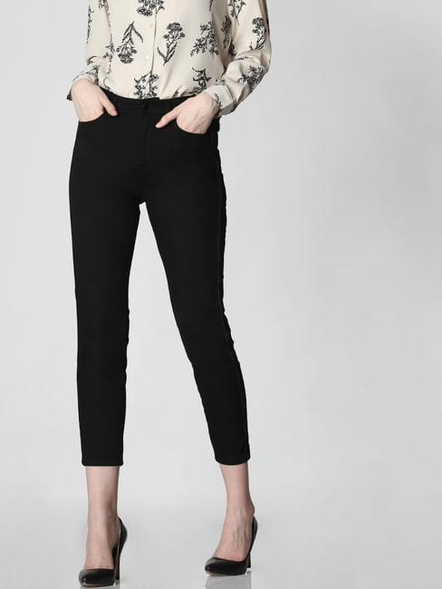 Black High Rise Tape Detail Straight Fit Jeans