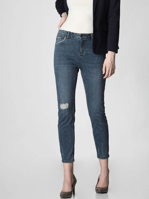 Blue High Rise Ripped Straight Fit Jeans
