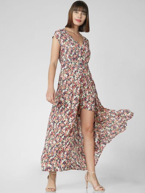 Blue Floral Print Playsuit Midi Dress