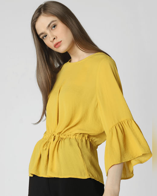 Mustard Drawstring Top