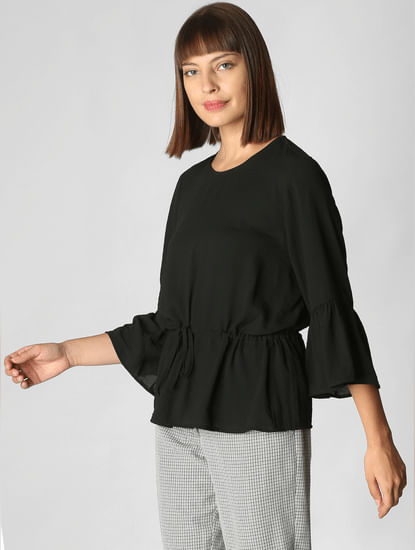 Black Drawstring Top