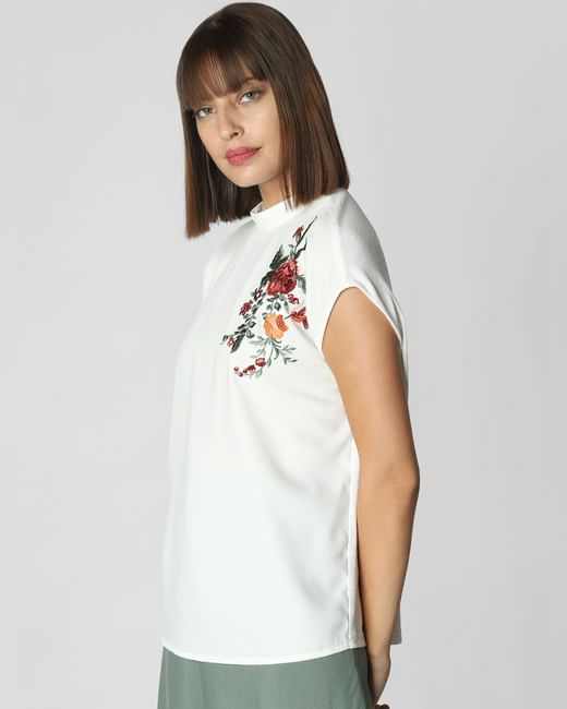 White Floral Embroidery Top