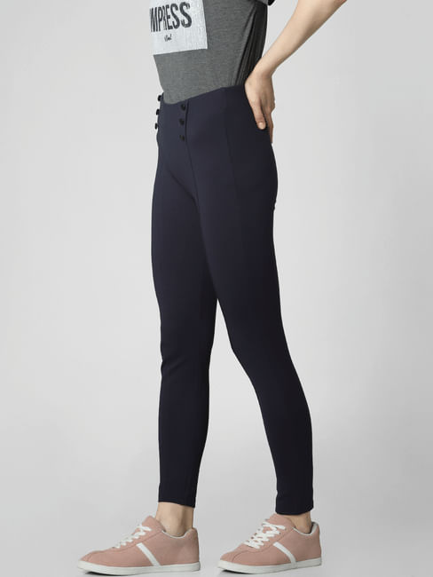 Navy Blue High Rise Button Detail Leggings