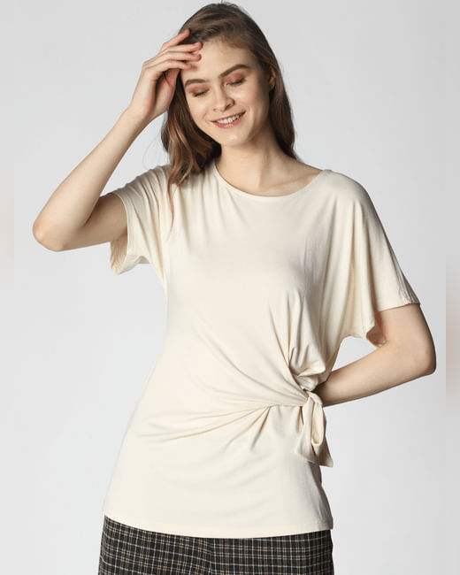Cream Side Knot Top