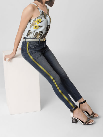 Blue Mid Rise Tape Detail Skinny Jeans