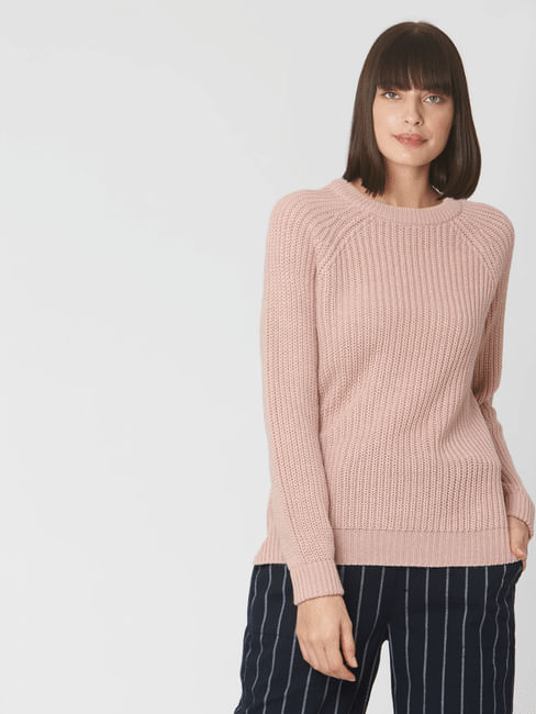 Pink Raglan Sleeves Sweater