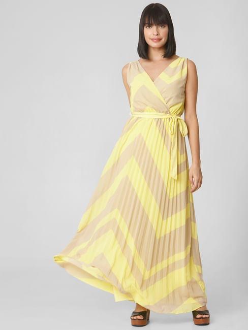 Beige Chevron Print Maxi Dress