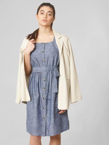 Blue Belted Shift Dress