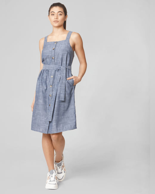 Blue Belted Shift Dress