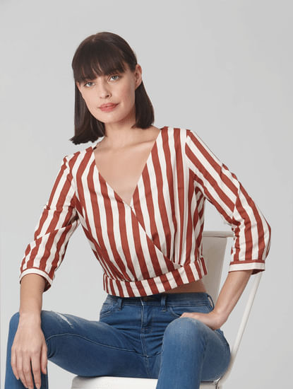 Brown Striped Cropped Shirt