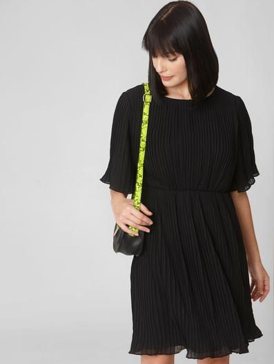 Black Pleated Fit & Flare Dress