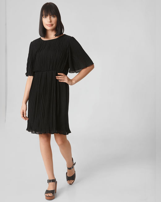 Black Pleated Fit & Flare Dress