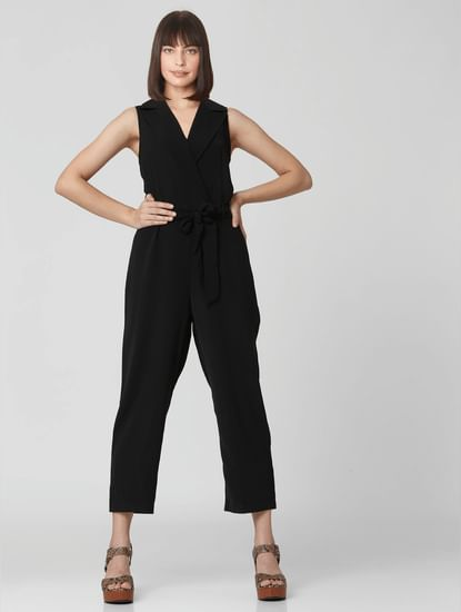 Black Notched Lapel Collared Jumpsuit