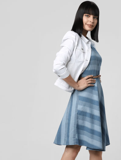 Blue Striped Denim Fit & Flare Dress