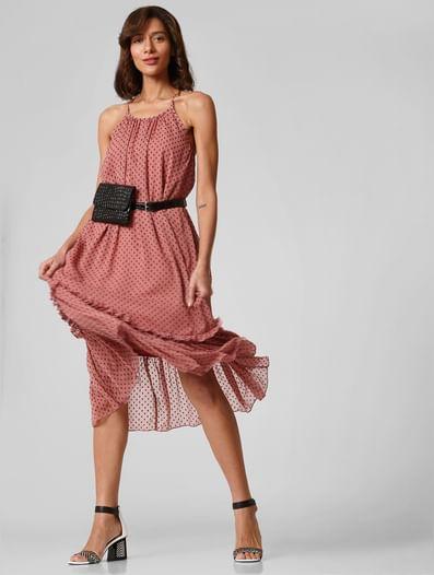 Pink Swiss Dot Textured Midi Dress