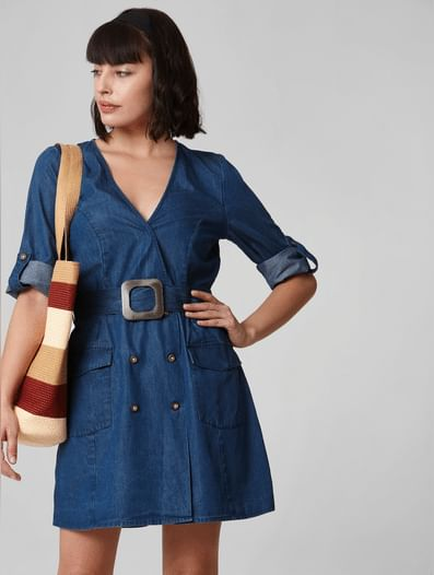 Blue Double Breasted Denim Playsuit