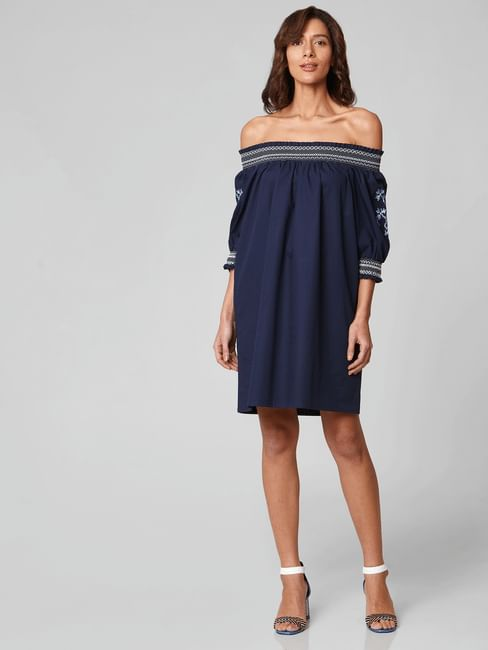 Blue Off-Shoulder Shift Dress