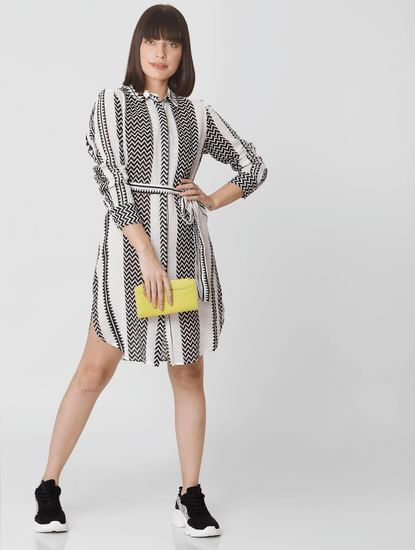 Black Chevron Print Shirt Dress