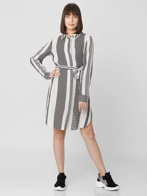 Black Chevron Print Shirt Dress
