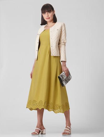 Mustard Schiffli Hem Midi Dress