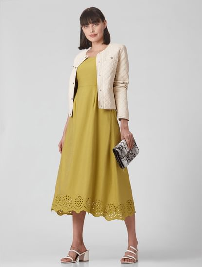 Mustard Schiffli Hem Midi Dress