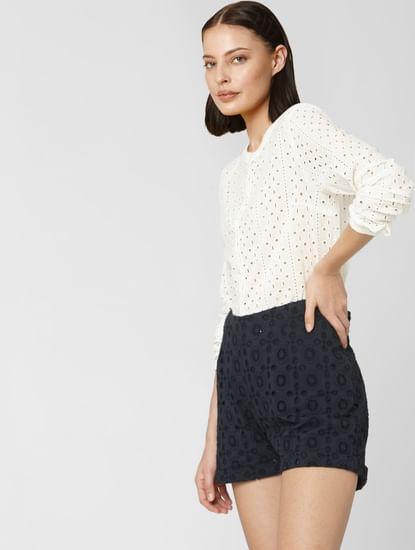 White Schiffli Embroidered Shirt