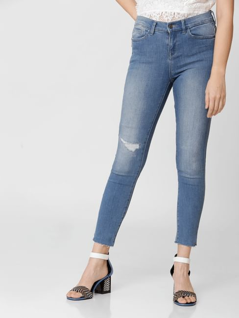 Blue Mid Rise Mildly Distressed Skinny Jeans