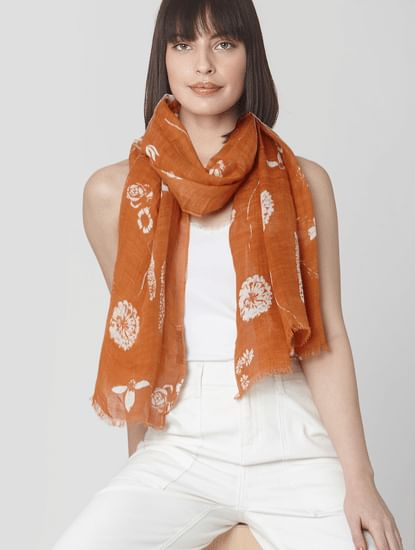 Brown Floral Raw Edge Scarf