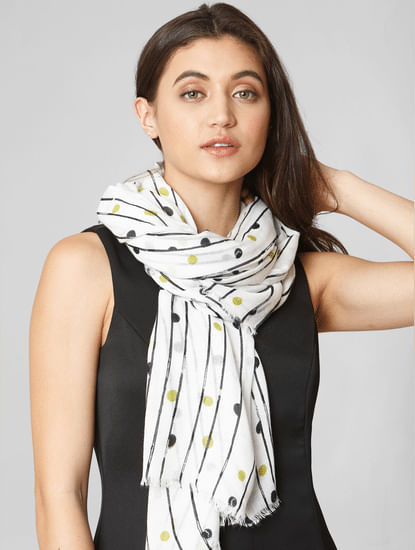 White Striped Raw Edge Scarf