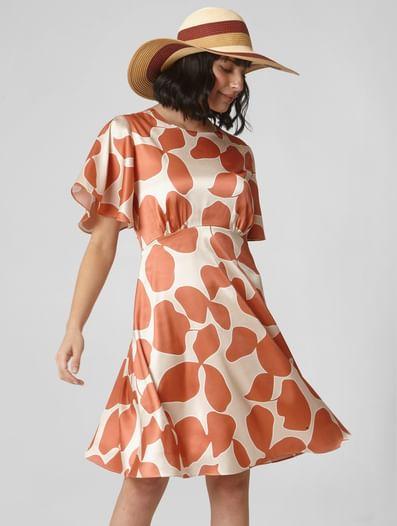 Orange All Over Print Fit & Flare Dress