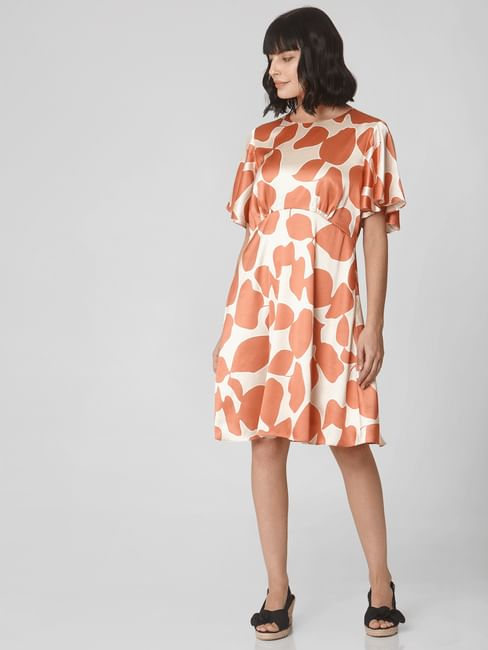 Orange All Over Print Fit & Flare Dress
