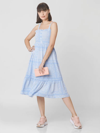 Light Blue All Over Print Midi Dress