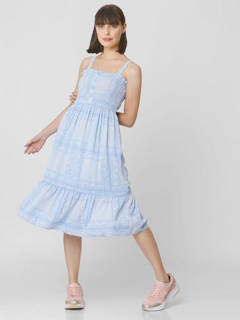 Light Blue All Over Print Midi Dress