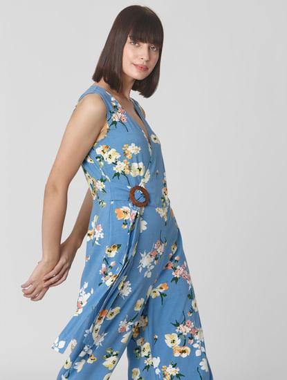 Blue Floral Wrap Style Jumpsuit