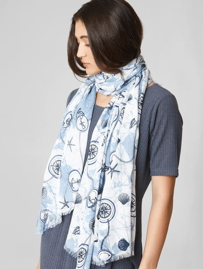 Blue Nautical Print Raw Edge Scarf