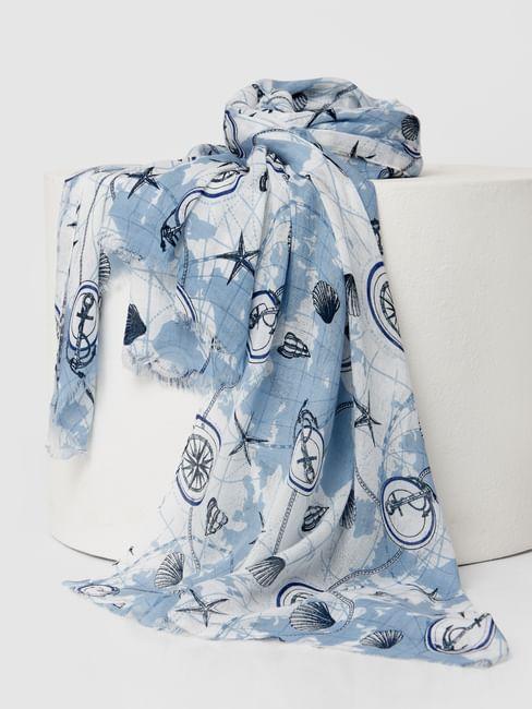 Blue Nautical Print Raw Edge Scarf