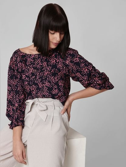 Navy Blue Abstract Print Top
