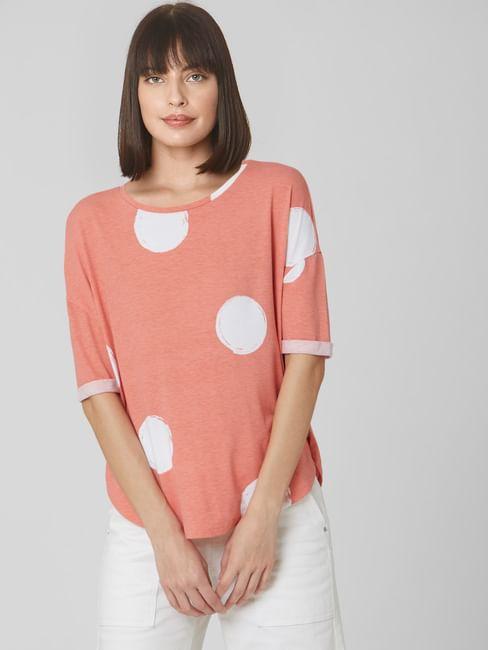 Coral Polka Dot Oversized T-shirt