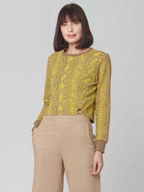 Brown Snakeskin Print Cropped Sweatshirt
