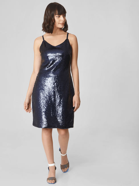 Dark Blue Sequinned Bodycon Dress