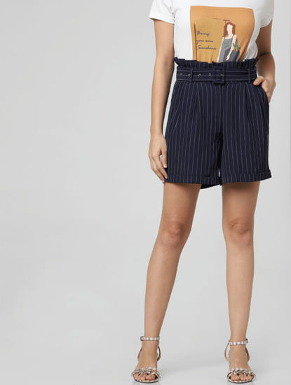 Dark Blue Striped Paperbag Waist Shorts