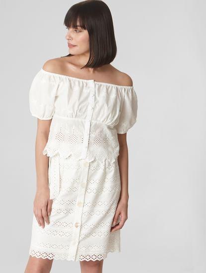 White Cutwork Midi Skirt