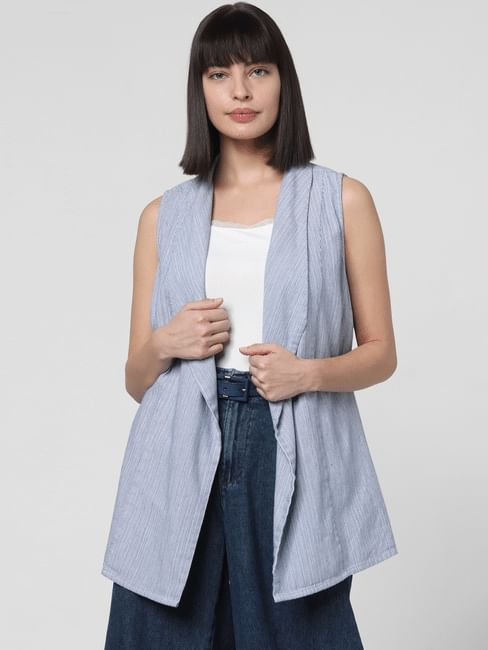 White Striped Front Open Jacket