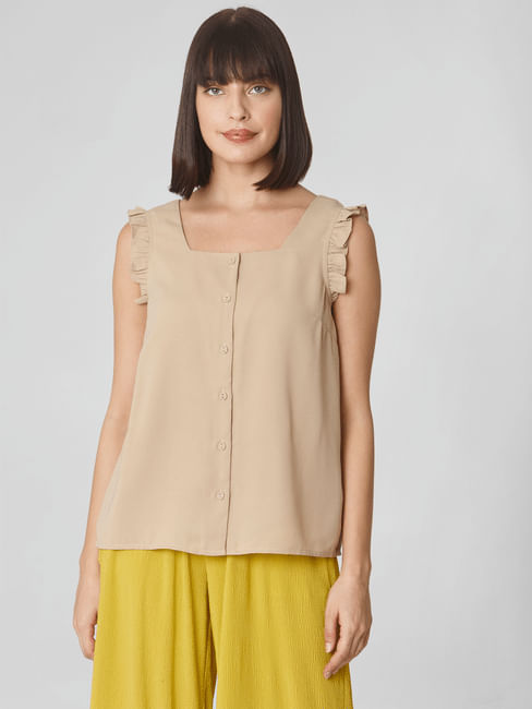 Beige Ruffled Sleeves Top