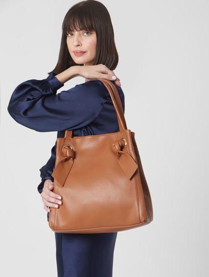 Tan Knot Strap Handbag