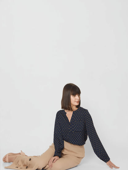 Navy Blue Polka Dot Top