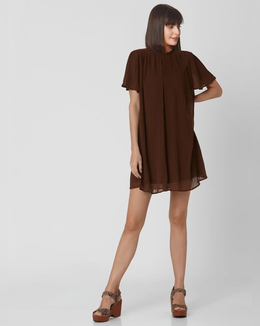 Brown Pleated Shift Dress